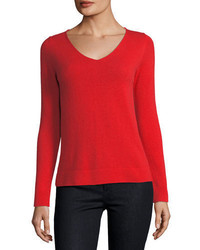 Neiman Marcus Cashmere Collection Cashmere V Neck Sweater