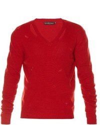 Alexander McQueen Distressed V Neck Sweater