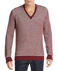 Armani Jeans Jacquard V Neck Sweater