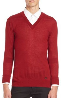 ff48892e747 London Regal V Neck Red Cashmere Sweater