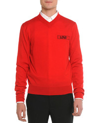 Givenchy Love V Neck Sweater Red