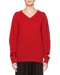 The Row Maley V Neck Long Sleeve Cashmere Blend Sweater