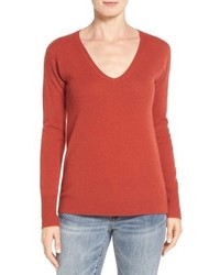 Petite Halogen V Neck Cashmere Sweater