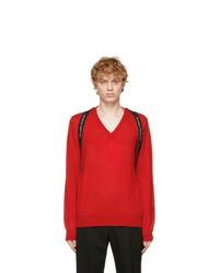 Alexander McQueen Red Logo V Neck Sweater