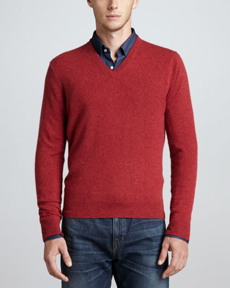Neiman Marcus V Neck Cashmere Pullover Sweater Red | Where to buy ...