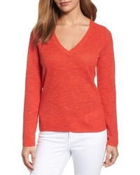 V neck organic linen cotton sweater medium 4401419