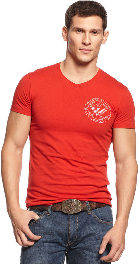 Armani Jeans Slim Fit V Neck Logo T Shirt | Where to buy & how to wear