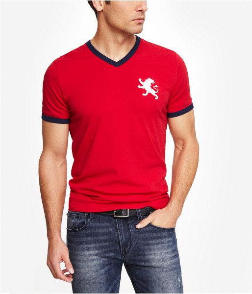 Red V Neck T Shirt Express Tri Color Large Lion V Neck