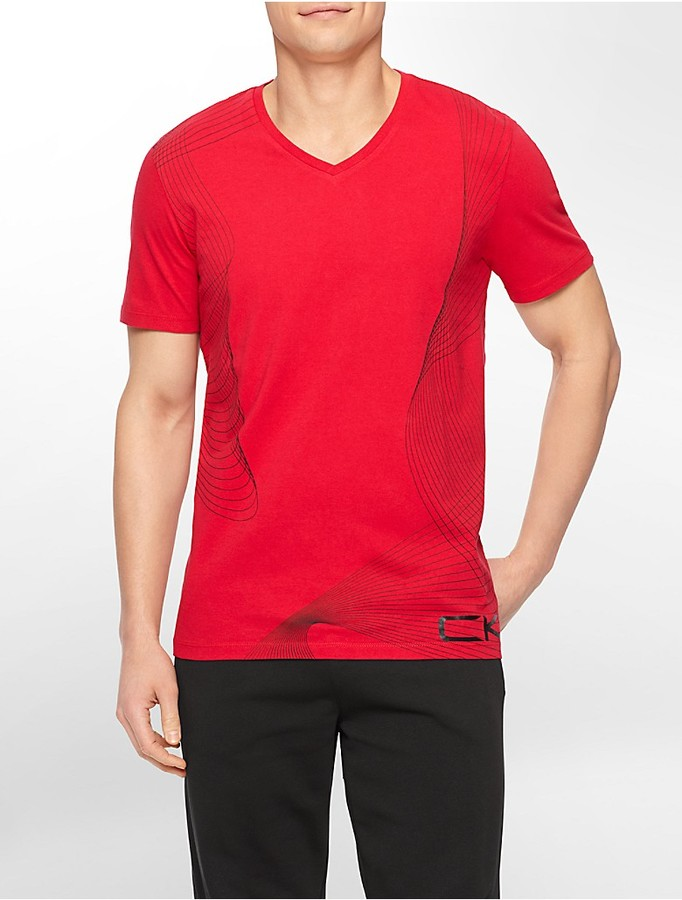 bc0cfbcb9 Calvin Klein Performance Slim Fit Gradient Print V Neck T Shirt