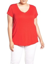 Plus size short sleeve v neck tee medium 844830