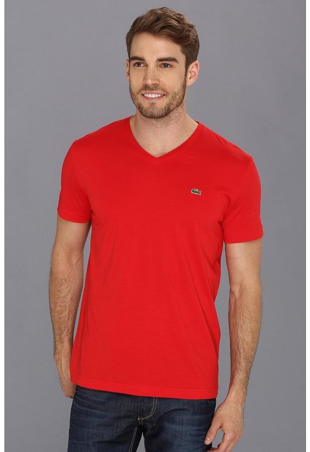 69e92ed60e ... Lacoste Short Sleeve Pima Jersey V Neck T Shirt Short Sleeve Pullover  ...