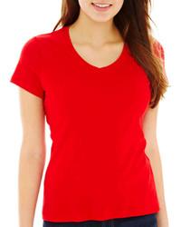 St Johns Bay St Johns Bay Short Sleeve V Neck T Shirt  Petite