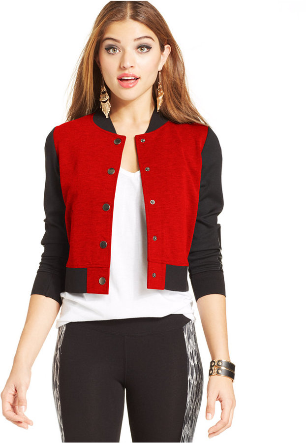 Eric Lani Juniors Cropped Varsity Jacket | Where to buy & how to wear