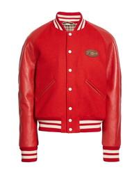 Gucci Horsebit Leather Sleeve Wool Varsity Bomber Jacket