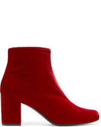 Saint Laurent Babies Velvet Ankle Boots Red