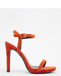 Red Velvet Heeled Sandals