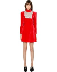 Red Velvet Shift Dress