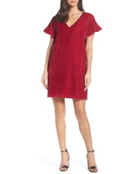 Charles Henry V Neck Velvet Shift Dress