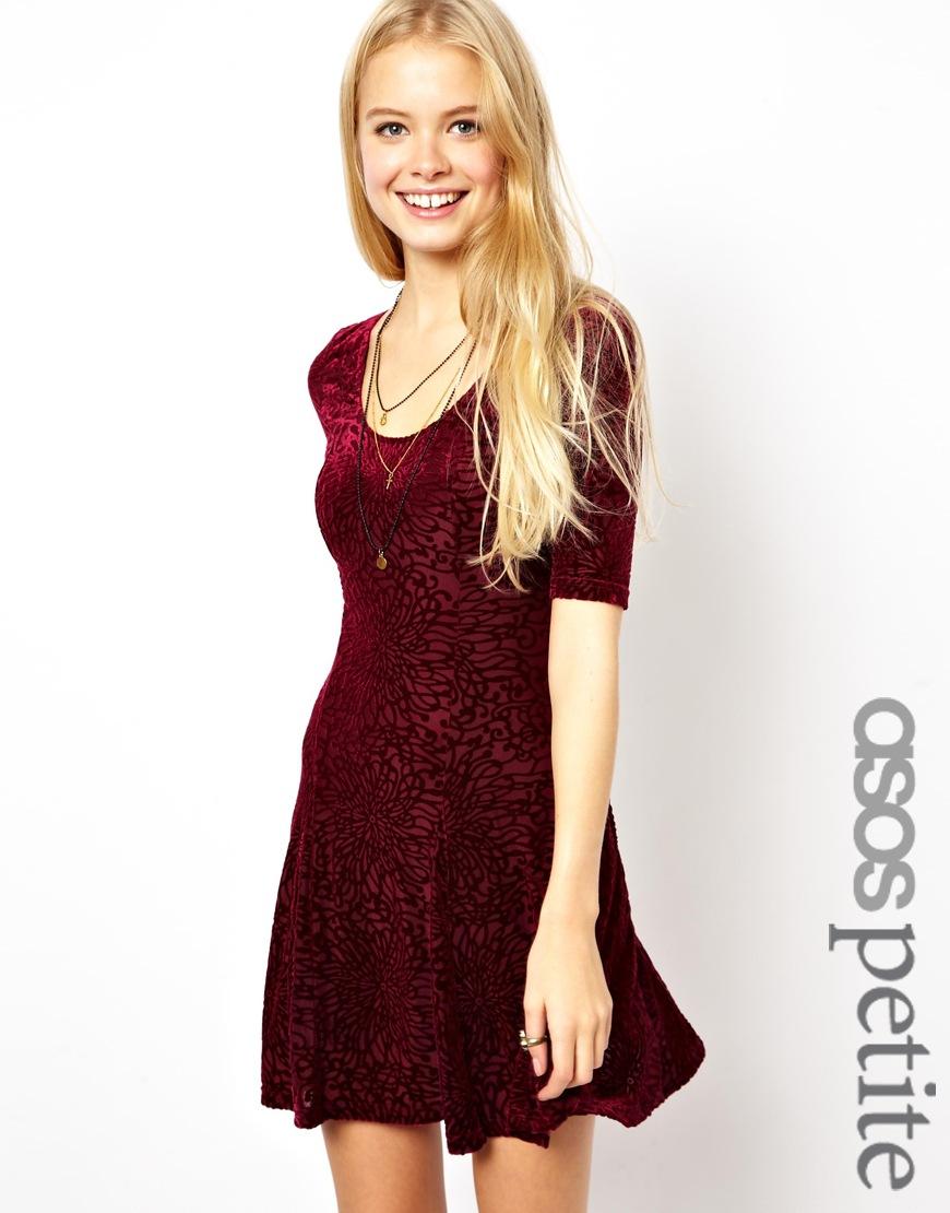 Asos Petite Skater Dress In Flocked Velvet | Where to buy & how to wear
