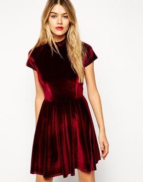 01139e0680 ... Red Velvet Skater Dresses Asos Collection Velvet Skater Dress With Lace  Panel Detail ...