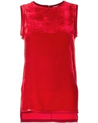 Red Velvet Sleeveless Top