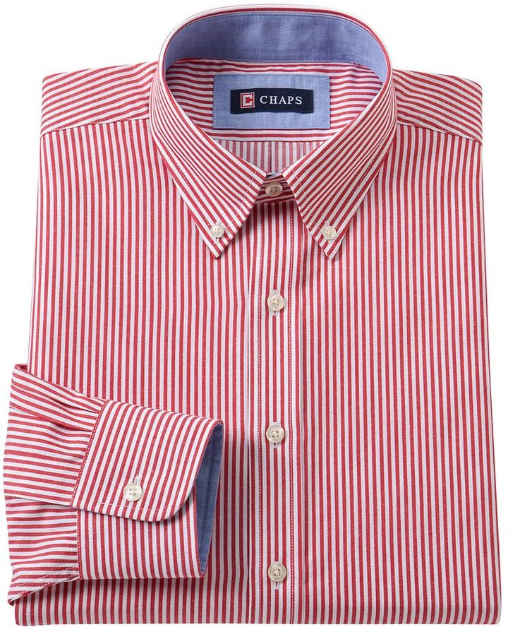Red vertical striped dress shirt chaps classic fit for Chaps button down shirts
