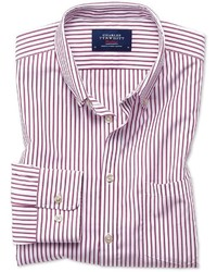 Charles Tyrwhitt Classic Fit Button Down Non Iron Poplin Berry Stripe Cotton Casual Shirt Single Cuff Size Large By