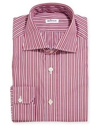 Kiton Multi Stripe Cotton Dress Shirt Red