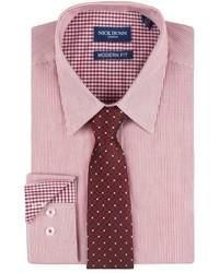 Nick Dunn Nick Dunn Modern Fit Patterned Easy Care Spread Collar Dress Shirt Tie Set