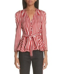 Stella McCartney Stripe Silk Peplum Blouse