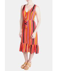 Lumiere tribal striped midi dress medium 5366253