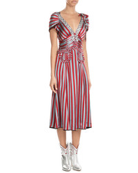 Marc Jacobs Striped Dress With Sequin And Crystal Embellisht