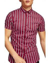 Red Vertical Striped Short Sleeve Shirt