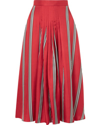 Roksanda Thaki Pleated Striped Silk Twill Midi Skirt
