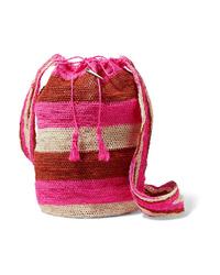 Muzungu Sisters Fique Striped Woven Straw Shoulder Bag
