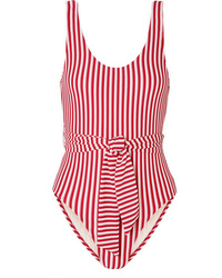 Peony Striped Jacquard Knit Swimsuit