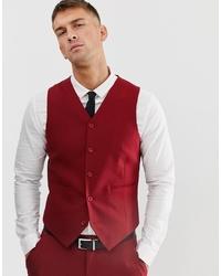 ASOS DESIGN Skinny Suit Waistcoat In Scarlet Red