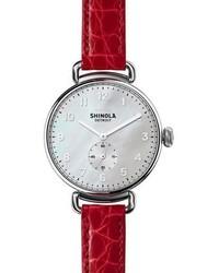 Shinola The Canfield 38mm Watch Walligator Strap Red