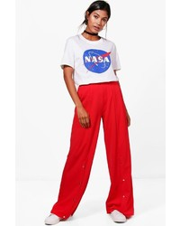 Boohoo Annie Popper Front Crepe Wide Leg Trousers