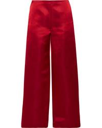 The Row Strom Silk Satin Wide Leg Pants Burgundy