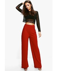 Boohoo Tall Emma Wide Leg Pleat Front Trouser