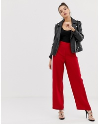 ASOS DESIGN Wide Leg Track Pants In Red With Contrast