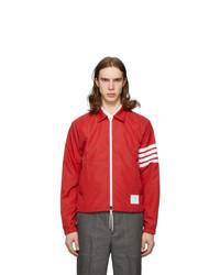 Thom Browne Red 4 Bar Windbreaker Jacket