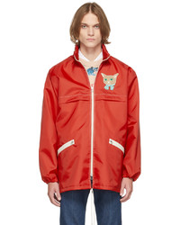 Gucci Red Canvas Cat Patch Jacket