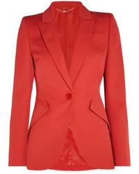 Alexander McQueen Wool Crepe Blazer Red