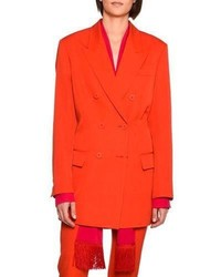 Stella McCartney Nicola Double Breasted Wool Blazer Jacket Bright Red