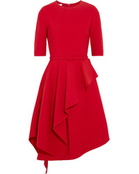 Ruffled stretch wool blend dress red medium 6465186