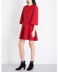Valentino Wide Sleeve Loose Wool And Silk Blend Dress