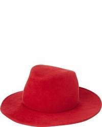rag & bone Asymmetric Crown Fedora Red