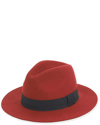 Dark red wool blend fedora medium 6465828